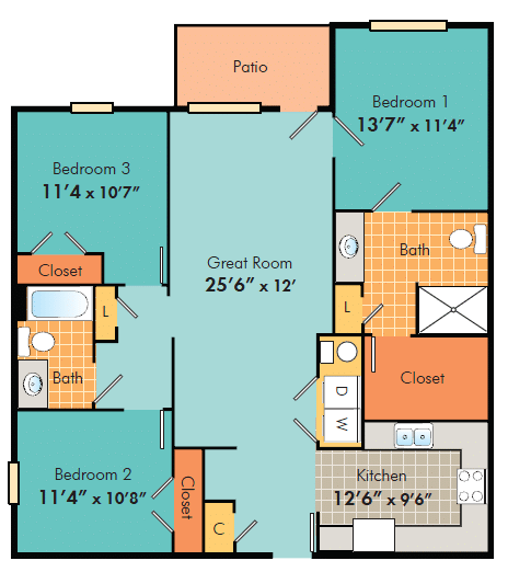 three bedroom apartments in Fayetteville